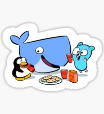 Docker friends gang linux tux go gopher